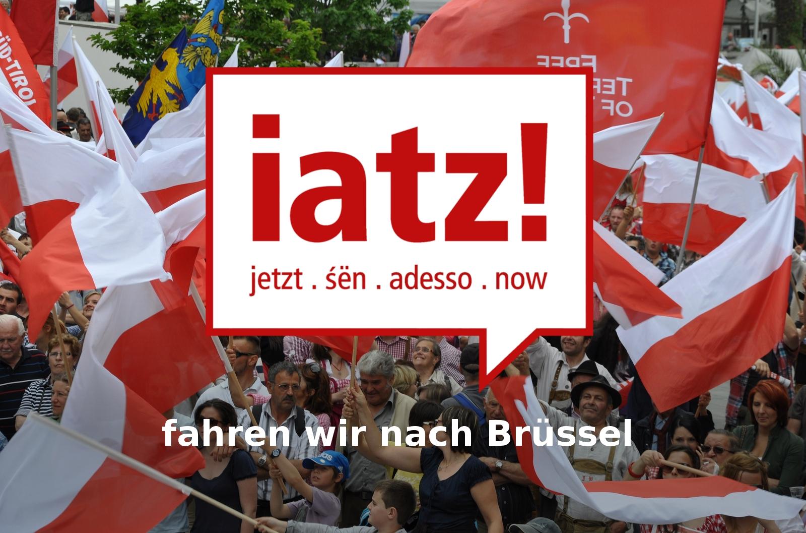 Fahrt zur großen Selbstbestimmungs-Kundgebung in Brüssel